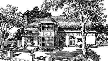 European House Plan 93090 with 4 Beds, 4 Baths, 2 Car Garage Rear Elevation