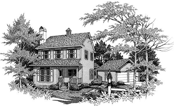 Colonial, Country, Southern House Plan 93409 with 4 Beds, 3 Baths, 2 Car Garage Elevation