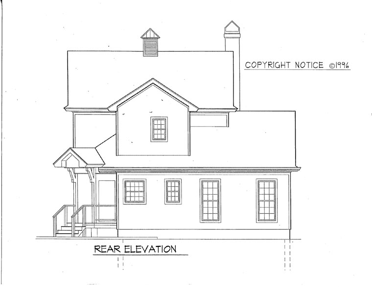 Colonial, Country, Southern House Plan 93409 with 4 Beds, 3 Baths, 2 Car Garage Rear Elevation
