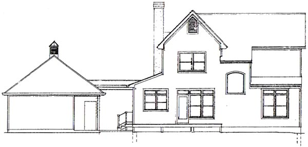 Country, Farmhouse House Plan 93417 with 4 Beds, 3 Baths, 2 Car Garage Rear Elevation