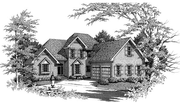 Country, European, Farmhouse House Plan 93435 with 3 Beds, 3 Baths, 2 Car Garage Front Elevation