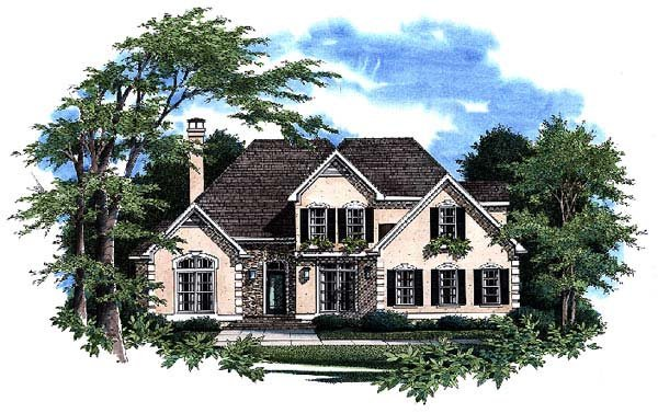 European House Plan 93438 with 4 Beds, 3 Baths, 2 Car Garage Elevation