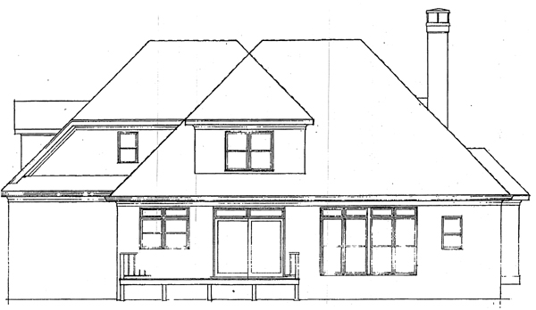 European House Plan 93438 with 4 Beds, 3 Baths, 2 Car Garage Rear Elevation