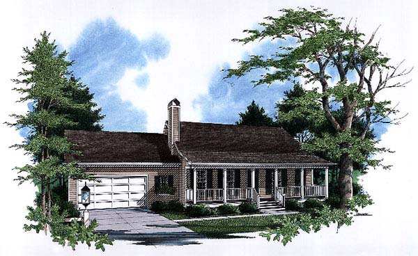 Country, One-Story, Ranch House Plan 93449 with 3 Beds, 2 Baths, 2 Car Garage Front Elevation