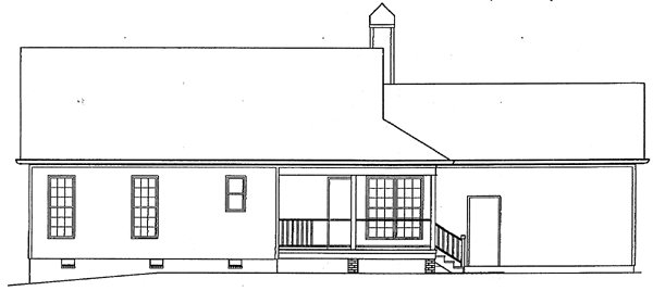 Country, One-Story, Ranch House Plan 93449 with 3 Beds, 2 Baths, 2 Car Garage Rear Elevation