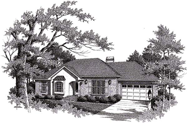 European, One-Story House Plan 93454 with 3 Beds, 2 Baths, 2 Car Garage Elevation
