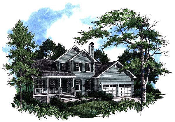 Country, Farmhouse House Plan 93465 with 3 Beds, 3 Baths, 2 Car Garage Elevation