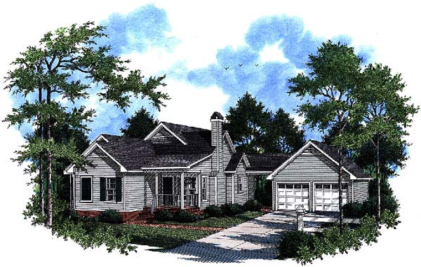 Country, One-Story House Plan 93469 with 3 Beds, 2 Baths, 2 Car Garage Elevation