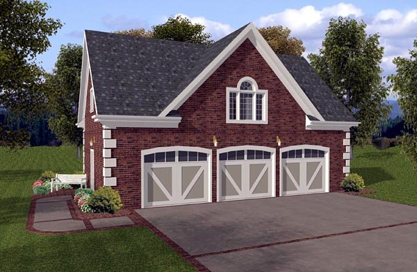 3 Car Garage Apartment Plan 93471 with 1 Beds, 1 Baths Front Elevation