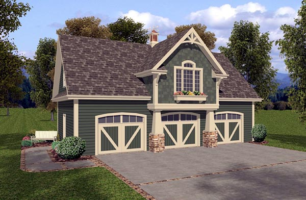 3 Car Garage Apartment Plan 93473 with 1 Beds, 1 Baths Front Elevation