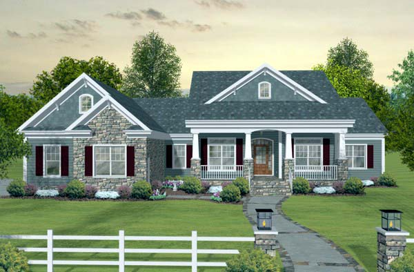 Craftsman, European, Traditional House Plan 93483 with 3 Beds, 3 Baths, 3 Car Garage Front Elevation