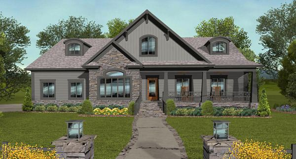 Bungalow, Country, Craftsman House Plan 93495 with 4 Beds, 3 Baths, 3 Car Garage Front Elevation