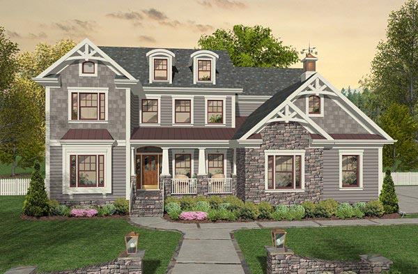 Craftsman, Farmhouse House Plan 93496 with 4 Beds, 4 Baths, 3 Car Garage Elevation