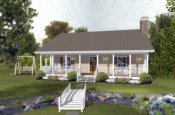 Cabin, Country, Ranch House Plan 93497 with 2 Beds, 2 Baths Front Elevation