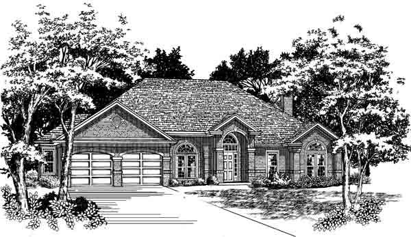 European, One-Story House Plan 93722 with 4 Beds, 3 Baths, 2 Car Garage Elevation