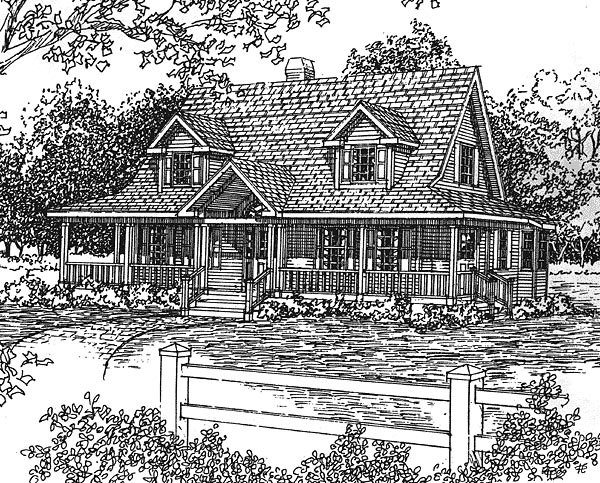 Country House Plan 94003 with 3 Beds, 3 Baths Front Elevation