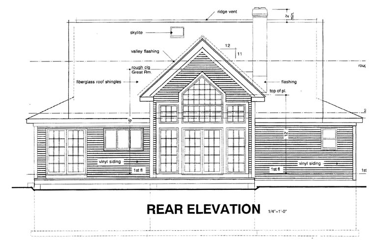 Country House Plan 94003 with 3 Beds, 3 Baths Rear Elevation