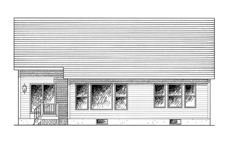 Bungalow, Cottage, Ranch House Plan 94147 with 2 Beds, 2 Baths, 2 Car Garage Rear Elevation