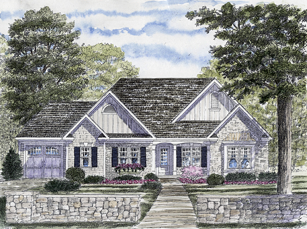 One-Story, Ranch House Plan 94157 with 2 Beds, 2 Baths, 3 Car Garage Front Elevation