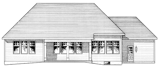 One-Story, Ranch House Plan 94157 with 2 Beds, 2 Baths, 3 Car Garage Rear Elevation