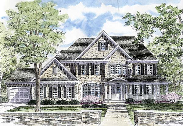 Country, Traditional House Plan 94170 with 4 Beds, 5 Baths, 3 Car Garage Front Elevation
