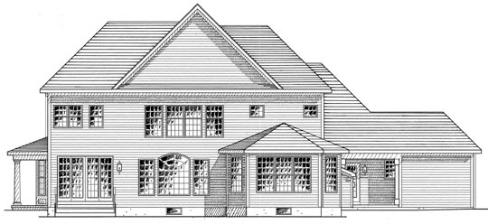 Country, Traditional House Plan 94170 with 4 Beds, 5 Baths, 3 Car Garage Rear Elevation