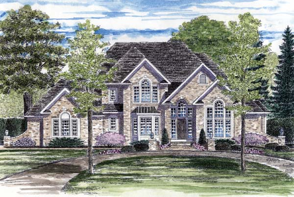 European, Tudor House Plan 94174 with 3 Beds, 4 Baths, 3 Car Garage Elevation