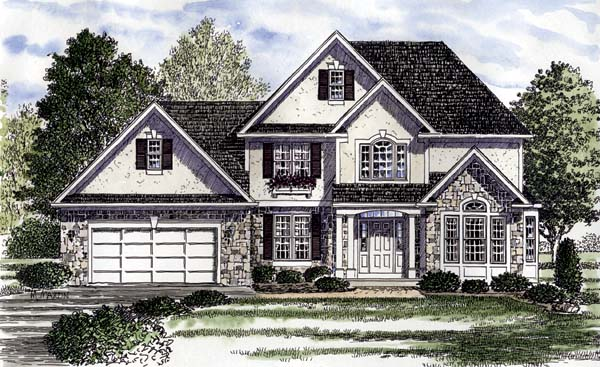 Colonial, European, Tudor House Plan 94180 with 4 Beds, 4 Baths, 2 Car Garage Front Elevation