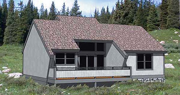 Cabin, Contemporary House Plan 94300 with 2 Beds, 2 Baths, 2 Car Garage Elevation