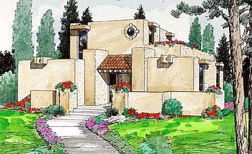 Santa Fe, Southwest House Plan 94304 with 3 Beds, 2 Baths Front Elevation