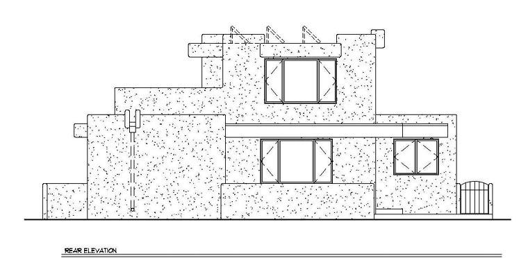 Santa Fe, Southwest House Plan 94304 with 3 Beds, 2 Baths Rear Elevation