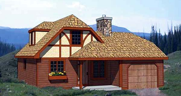 Tudor House Plan 94317 with 4 Beds, 2 Baths, 1 Car Garage Elevation