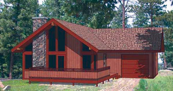 Cabin, Contemporary House Plan 94320 with 2 Beds, 2 Baths, 1 Car Garage Front Elevation