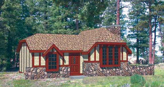 Cabin, Tudor House Plan 94329 with 2 Beds, 1 Baths Front Elevation