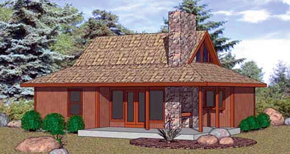 Cabin House Plan 94332 with 2 Beds, 1 Baths Elevation