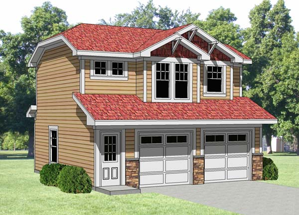2 Car Garage Apartment Plan 94340 with 1 Beds, 1 Baths Elevation