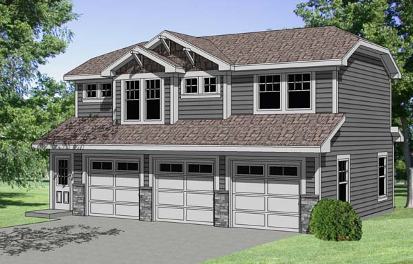 3 Car Garage Apartment Plan 94341 with 1 Beds, 1 Baths Front Elevation