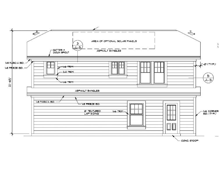 Garage-Living Plan 94341 with 1 Beds, 1 Baths, 3 Car Garage Rear Elevation