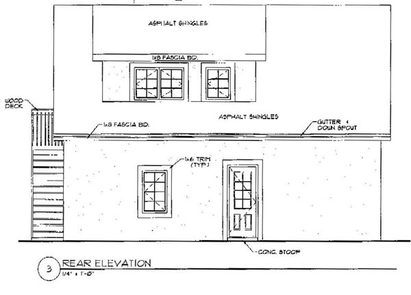 3 Car Garage Apartment Plan 94342 with 1 Beds, 1 Baths Rear Elevation
