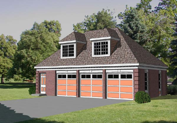 3 Car Garage Apartment Plan 94347 with 1 Beds, 1 Baths Front Elevation