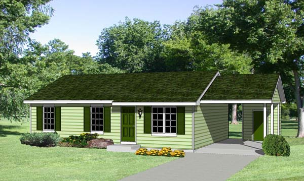 Ranch House Plan 94365 with 3 Beds, 2 Baths, 1 Car Garage Front Elevation