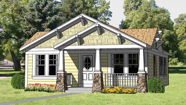 Cottage, Country, Craftsman House Plan 94371 with 3 Beds, 2 Baths Front Elevation