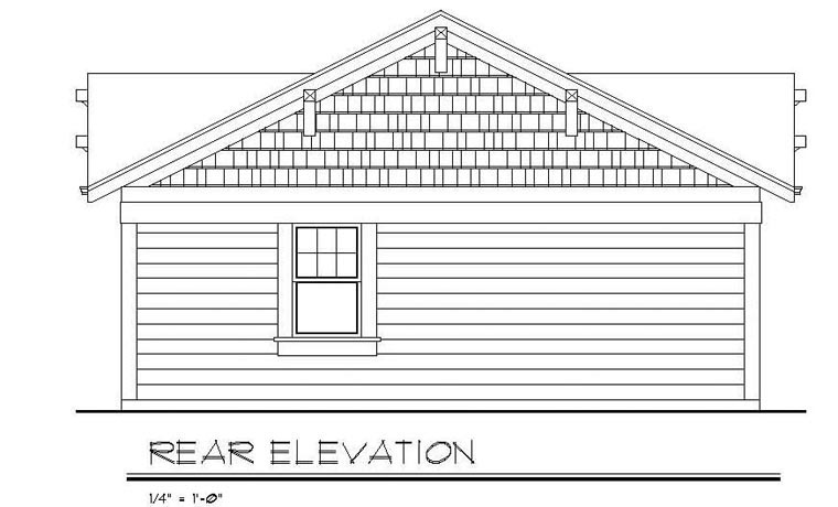 Cottage, Country, Craftsman House Plan 94371 with 3 Beds, 2 Baths Rear Elevation
