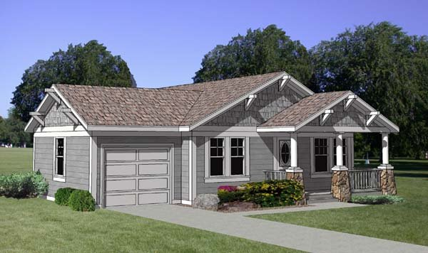 Bungalow, Country House Plan 94374 with 3 Beds, 2 Baths, 2 Car Garage Elevation