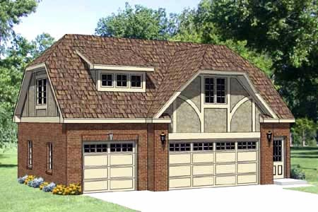 Tudor 3 Car Garage Apartment Plan 94399 with 1 Beds, 1 Baths Front Elevation