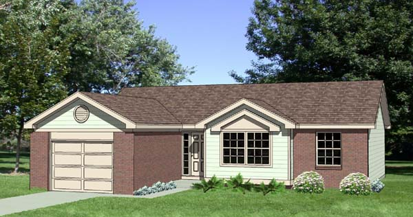 One-Story, Ranch House Plan 94406 with 3 Beds, 2 Baths, 1 Car Garage Elevation