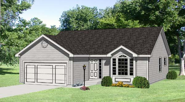One-Story, Ranch House Plan 94418 with 3 Beds, 2 Baths, 2 Car Garage Elevation