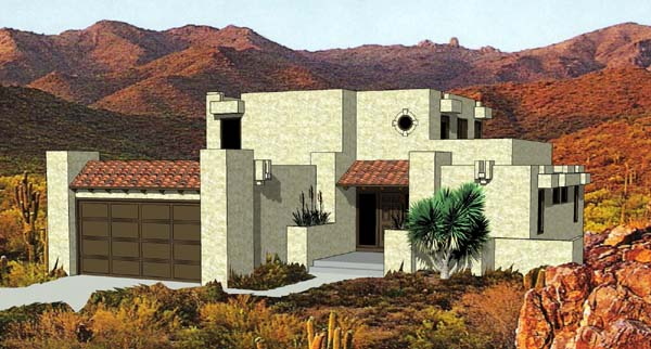 Santa Fe, Southwest House Plan 94423 with 3 Beds, 3 Baths, 2 Car Garage Elevation