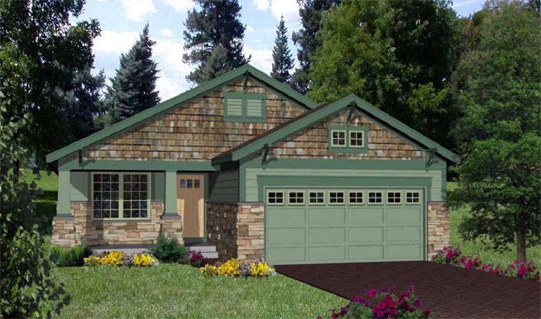 Craftsman House Plan 94472 with 3 Beds, 2 Baths, 2 Car Garage Front Elevation