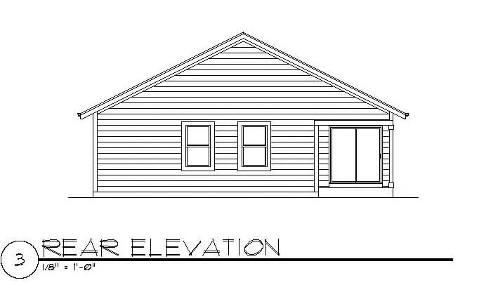 Craftsman House Plan 94472 with 3 Beds, 2 Baths, 2 Car Garage Rear Elevation